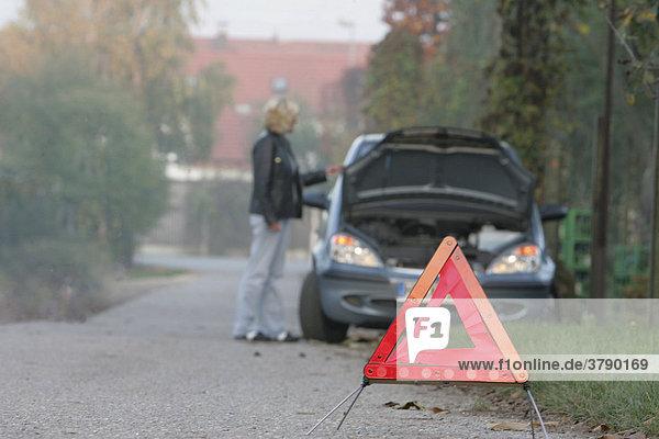 DEU  Bundesrepublik Deutschland  Heidelberg  Frau steht hilflos vor einem defekten Auto
