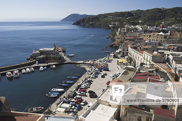Lipari  town and island near Sicily. View from castle above to harbour and marketplace  in the distance the coast of Sicily.