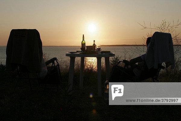 Romantisches Diner an der Düne von Pyla Frankreich