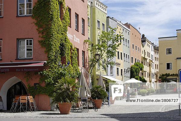 Wasserburg upon the river Inn district of Rosenheim Upper Bavaria Germany Heisererplatz