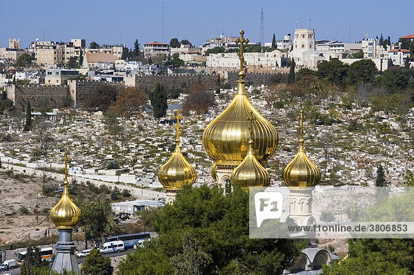 Israel Jerusalem Yerushalayim from the Mount of Olives to the Russian Orthodox Church of Mary Magdalene