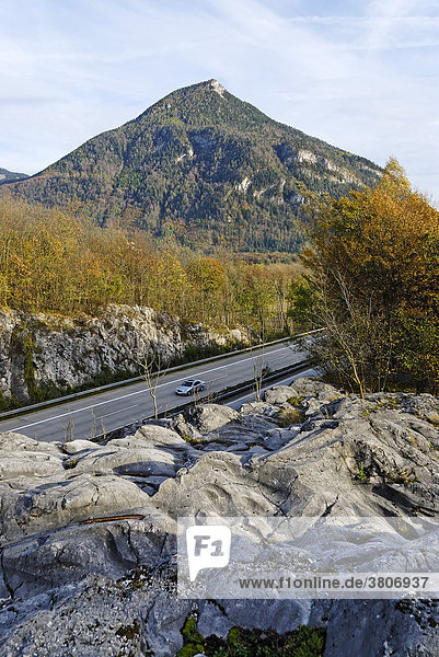 Roche moutonnÈe sheepback near Fischbach district of Rosenheim Upper Bavaria Germany in front of the Kranzhorn mountain and above the Inntal highway