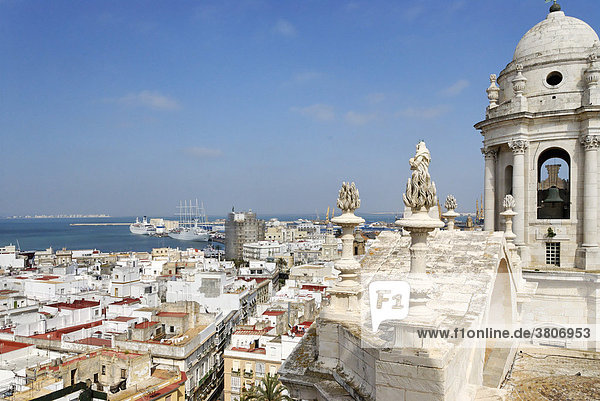 Cadiz Andalusia Spain cathedral from the north tower to the old town and the harbor
