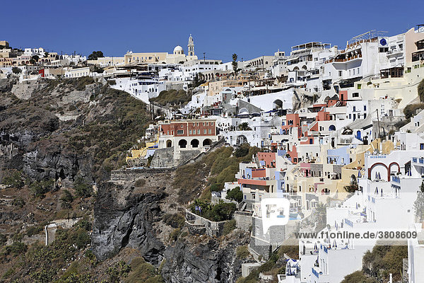 View of the village of Thira which is built at the edge of the caldera  Firostefani  Santorini  Greece