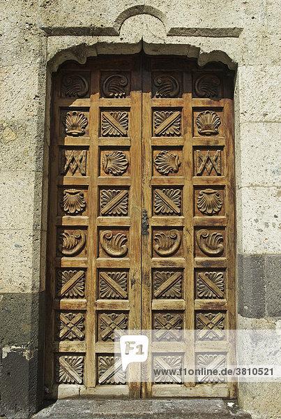 Tür am Museum Casa de ColÛn  Christoph Columbus wohnte hier 1492  Las Palmas  Gran Canaria  Spanien  Europa