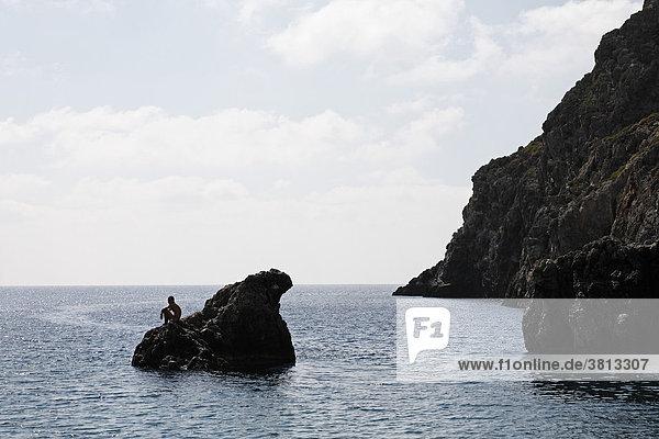 Felsküste am Ende der Agiofarango-Schlucht  Südkreta  Kreta  Griechenland