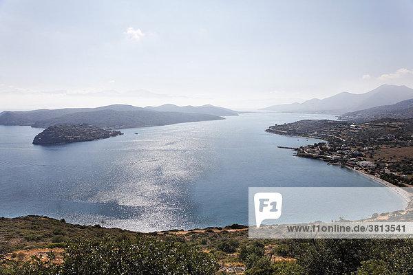 Spinalonga Bay  Lepra-Insel Spinalonga  Blick über Plaka  Ostkreta  Kreta  Griechenland