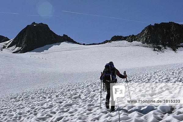Aufstieg zur Ruderhofspitze über den Alpeiner-Ferner-Gletscher in den Stubaier Alpen  Östereich