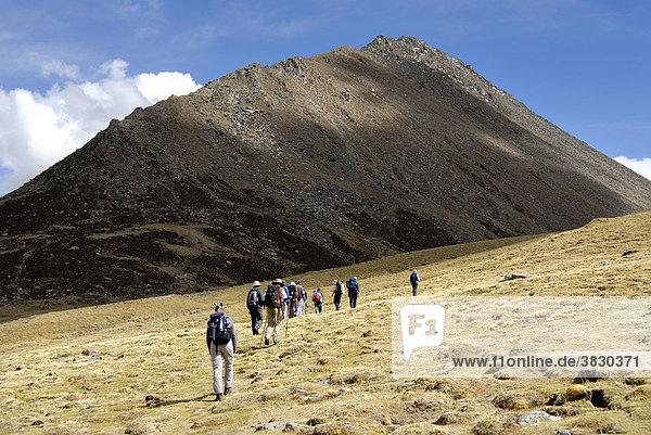 Trekking group passes a meadow below a high mountain in Tsotup-chu valley Tibet China