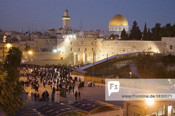 Israel Jerusalem Yerushalayim Wailing Wall and Dome an the Rock