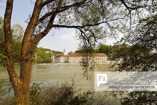 Weltenburg upon the river Danube Lower Bavaria Germany in front of the penetration of Danube through the Jura Mountains