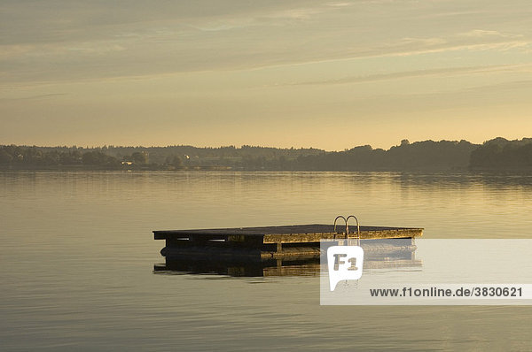Morning sun Sunrise at the Chiemsee Lake Chiemsee near Prien Chiemgau Upper Bavaria Germany