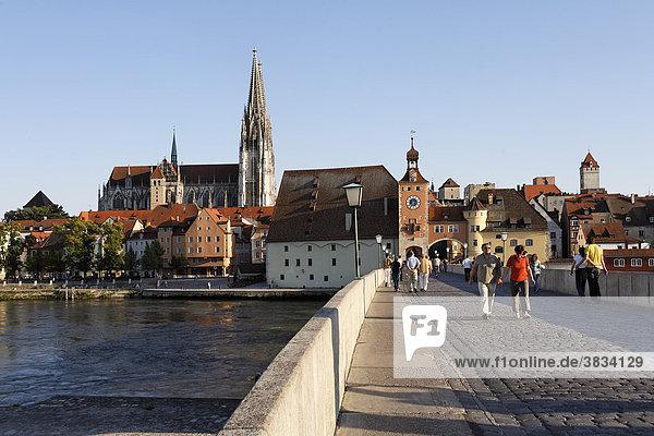 Stone Bridge ( Steinere Brücke )   Cathedral   Old Town Skyline   Danube river   Regensburg   Upper Palatinate Bavaria Germany