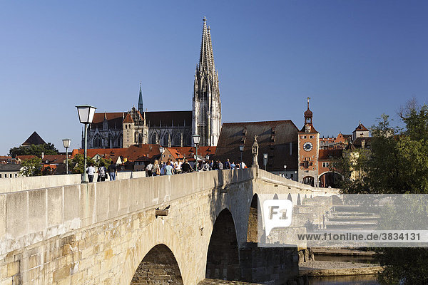 Stone Bridge ( Steinere Brücke )   Cathedral   Old Town Skyline   Regensburg   Upper Palatinate Bavaria Germany