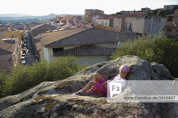 Child on rock  Arzachena  Sardinia  Italy