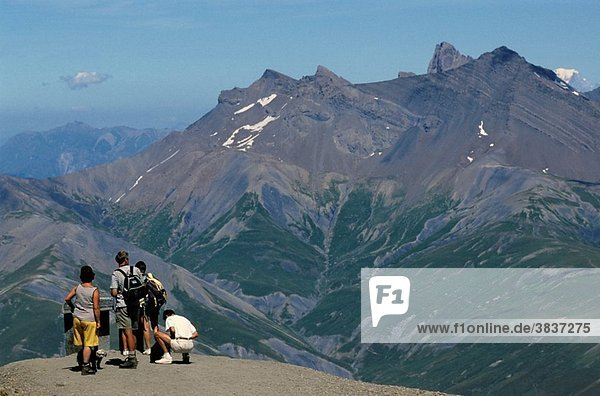 France alps ruillans pass group of people contemplating a mountain range