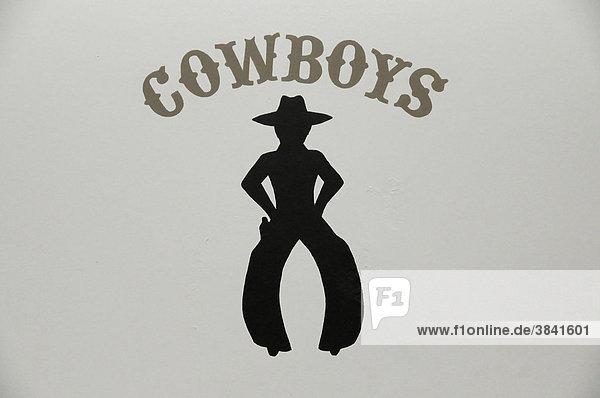 Cowboys  Schild auf der Toilette  Visitor Center  Grand Canyon  Arizona  USA  Nordamerika