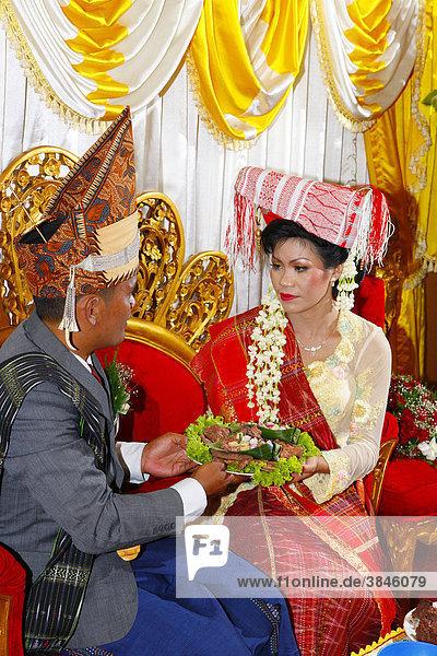 Brautpaar  traditionelles gegenseitiges Füttern  Hochzeitszeremonie  Siantar  Batak Region  Sumatra  Indonesien  Asien