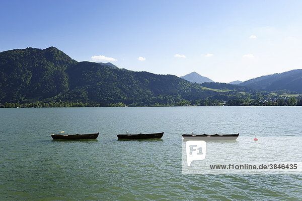Drei Ruderboote auf dem Tegernsee  Oberbayern  Bayern  Deutschland  Europa