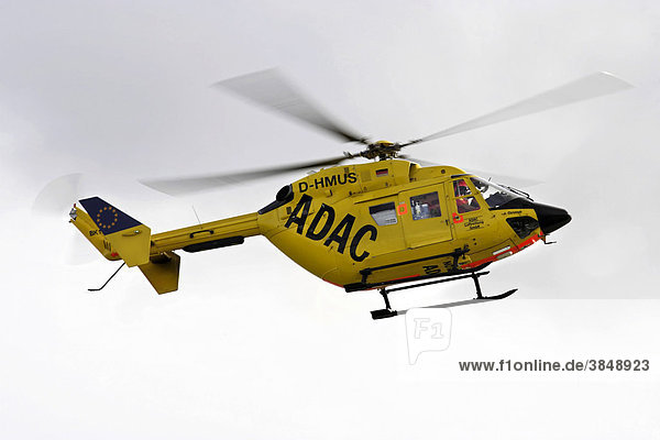 ADAC rescue helicopter in flight  island of Juist  Lower Saxony  Northern Germany  Europe