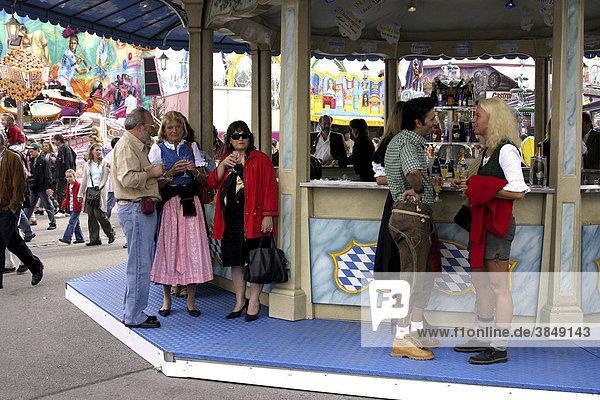 People in Bavarian dress  Oktoberfest  Munich  Bavaria  Germany  Europe
