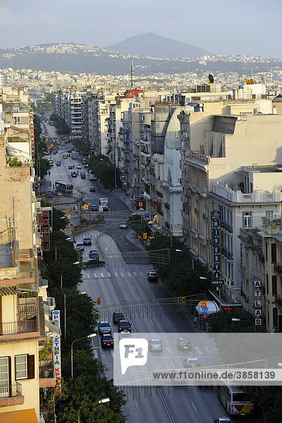 View of the main road of Egnatia  Thessaloniki  Chalkidiki in the distance  Macedonia  Greece  Europe