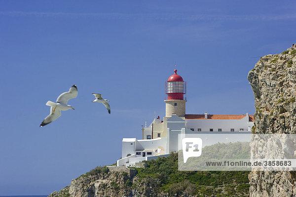 Leuchtturm am Cabo de Sao Vicente  Sagres  Algarve  Portugal  Europa