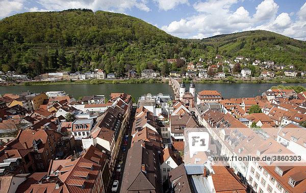 North view with the old bridge gate  Neckar  Heidelberg  Baden-Wuerttemberg  Germany  Europe
