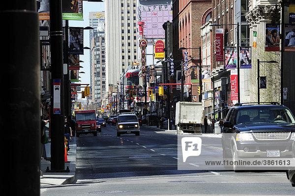 Yonge Street  the busiest street in downtown Toronto  Ontario  Canada