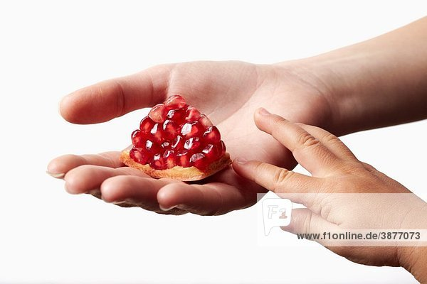 Woman hand holding a red piece of pomegranate on white background with child hand touching it