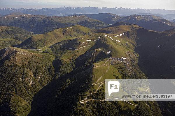 Nockalmstraße  Luftaufnahme  Nationalpark Nockberge  Kärnten  Österreich  Europa