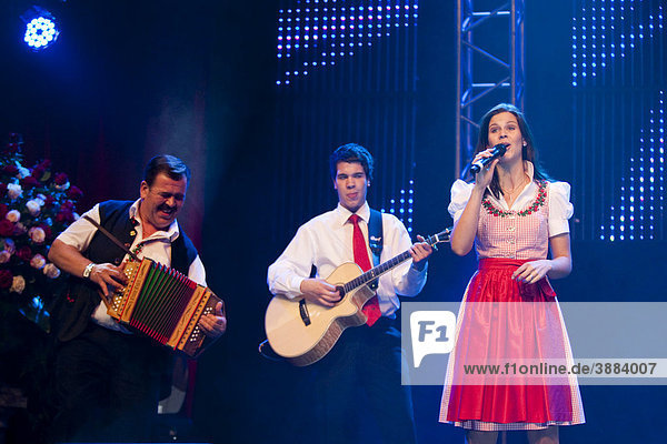 Swiss folk music and pop group Oesch's die Dritten performing live at the 10th Schlager-Night in the new Allmend Festival Hall  Lucerne  Switzerland  Europe