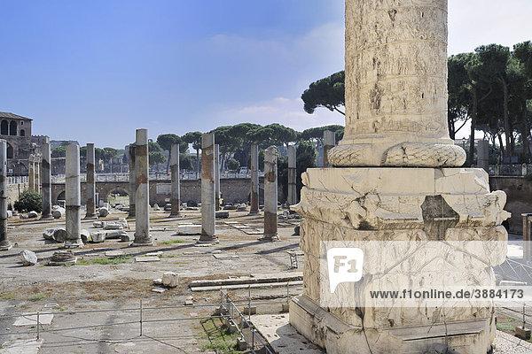 Basis der Trajanssäule und Säulen der Basilica Ulpia  Rom  Latium  Italien  Europa