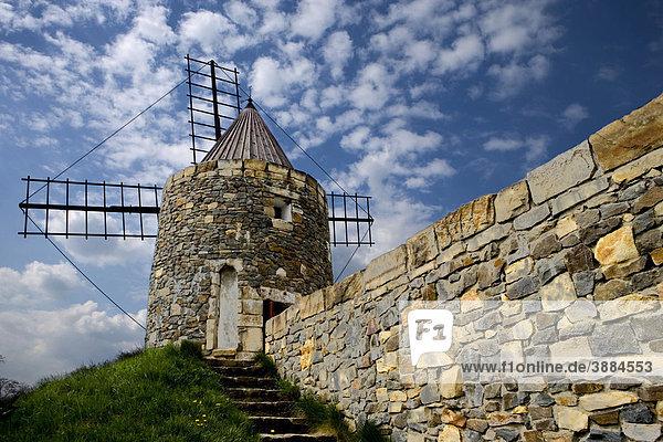 Französische Windmühle aus der Provence im Internationalen Wind- und Wassermühlenmuseum  Gifhorn  Niedersachsen  Deutschland  Europa