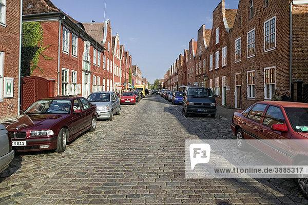 Traufenhäuser und Giebelhäuser im Holländischen Viertel  Potsdam  Brandenburg  Deutschland  Europa