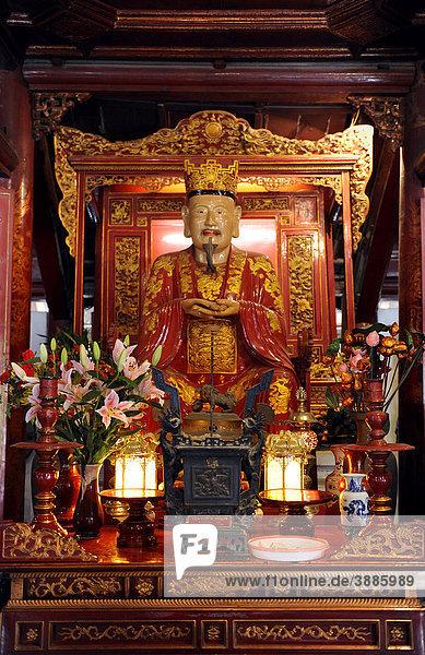 Figur des Konfuzius  Literaturtempel Van Mieu  Hanoi  Nordvietnam  Vietnam  Südostasien  Asien