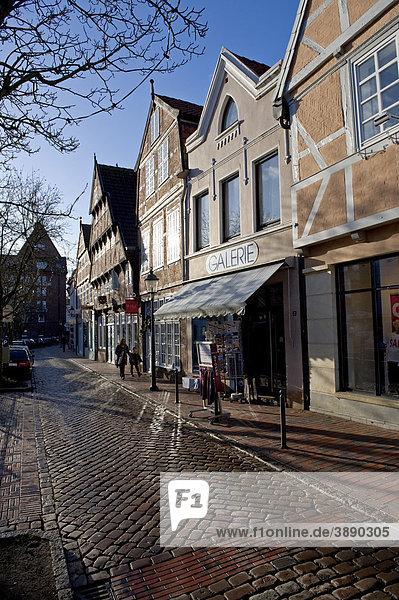 Straße Westfleth in Buxtehude  Niedersachsen  Deutschland  Europa