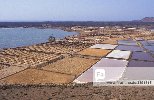 Drying basins of the saltworks of Janubio  Salinas de Janubio  salt mining  Lanzarote  Canary Islands  Spain  Europe