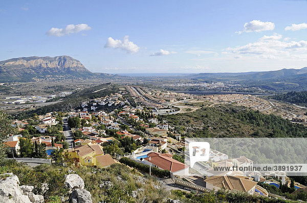 Mirador  Aussichtspunkt  Übersicht  Wohnsiedlung  Landschaft  Gata de Gorgos  Javea  Costa Blanca  Provinz Alicante  Spanien  Europa