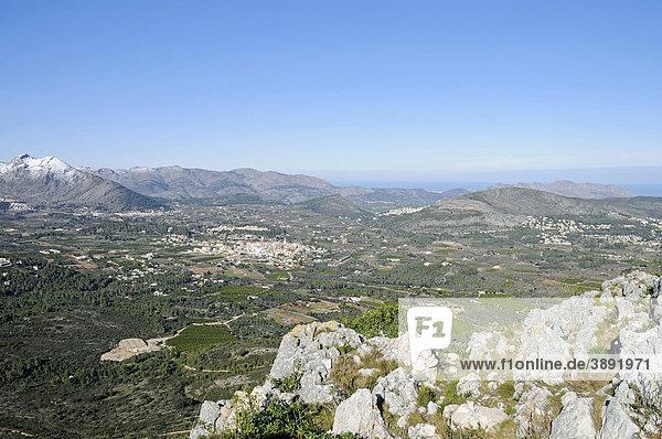 Übersicht  Aussicht  Blick vom Col de Rates  Gebirge  Parcent  Stadt  Vall de Pop  Pop Tal  Marina Alta Region  Costa Blanca  Provinz Alicante  Spanien  Europa