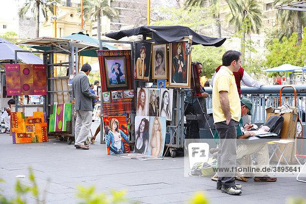 Street sale of paintings  Plaza de Armas  Santiago de Chile  Chile  South America