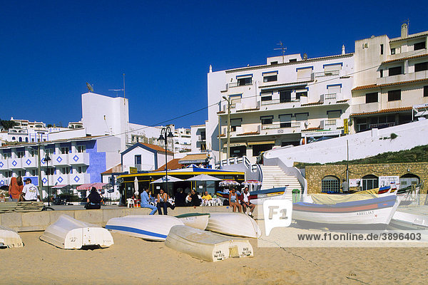 Beach with fishing boats  Carvoeiro  Algarve  Portugal  Europe