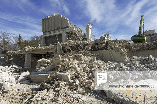 Ruins from the demolition of a post office building  Angererstrasse 9  economic crisis  Munich  Bavaria  Germany  Europe