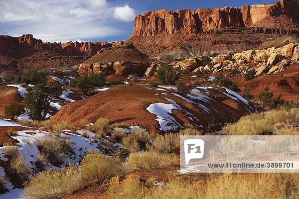 Capitol Reef National Park im Winter  Utah  USA