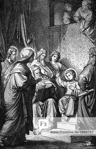 Der zwölfjährige Jesus im Tempel  historischer Stahlstich aus dem Jahre 1860