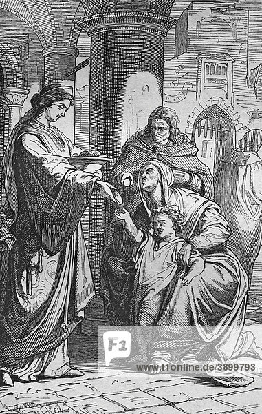 Die Hungrigen speisen  historischer Stahlstich aus dem Jahre 1860