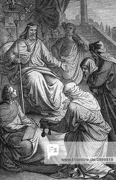 Die Juden unterwerfen sich den Römern  historischer Stahlstich aus dem Jahre 1860