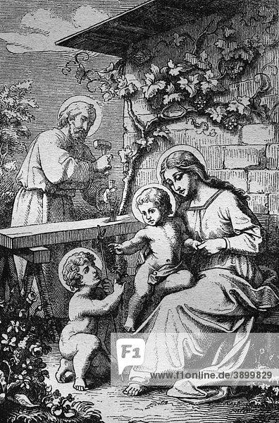 Die heilige Familie  historischer Stahlstich aus dem Jahre 1860