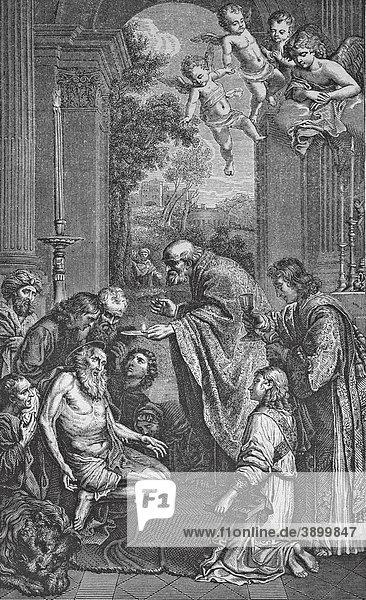 Kommunion des heiligen Hieronymus  historischer Stahlstich aus dem Jahre 1860
