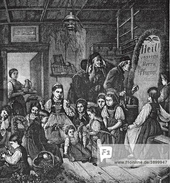 Des Pfarrers Namensfest  historischer Stahlstich aus dem Jahre 1860